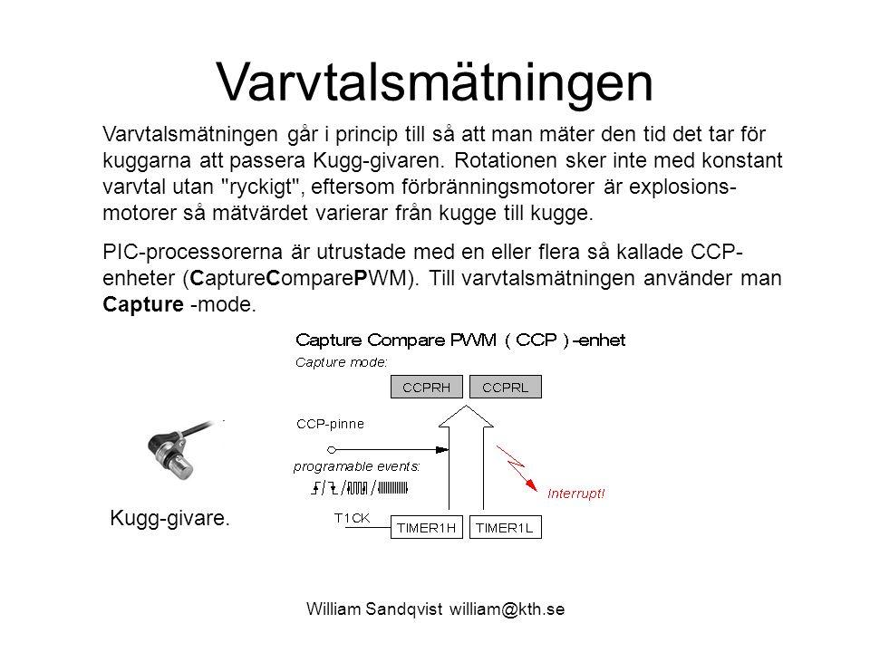William Sandqvist william@kth.se Varvtalsmätningen Varvtalsmätningen går i princip till så att man mäter den tid det tar för kuggarna att passera Kugg-givaren.