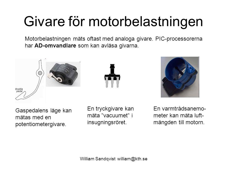 William Sandqvist william@kth.se Givare för motorbelastningen Motorbelastningen mäts oftast med analoga givare.