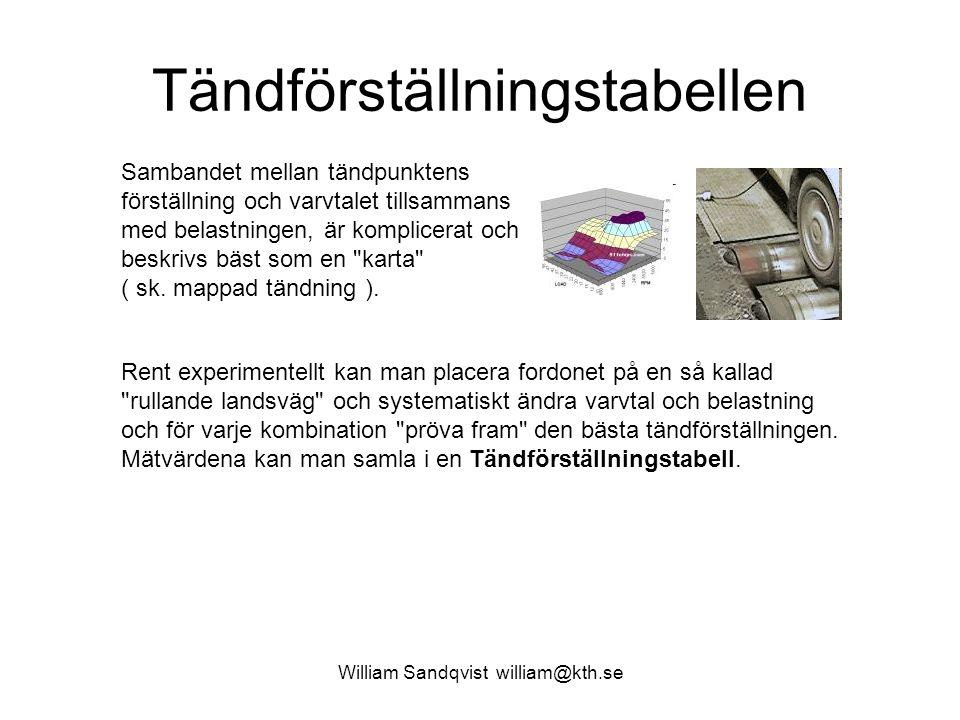 William Sandqvist william@kth.se Tändförställningstabellen Sambandet mellan tändpunktens förställning och varvtalet tillsammans med belastningen, är komplicerat och beskrivs bäst som en karta ( sk.