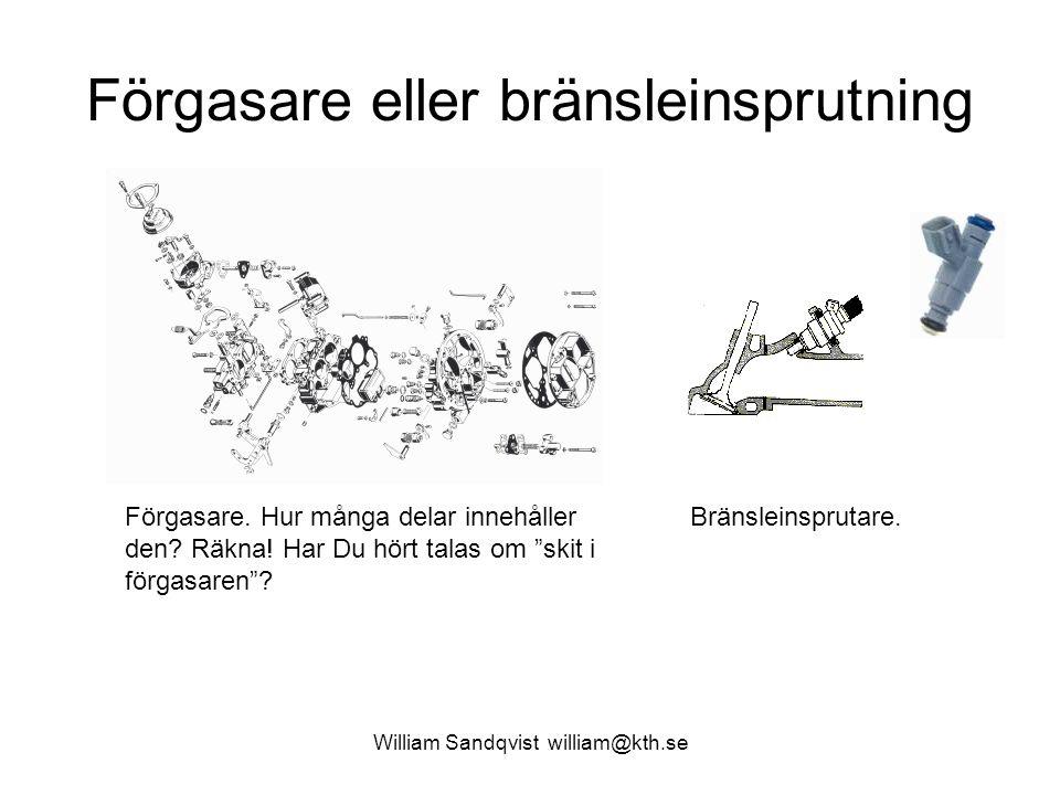 William Sandqvist william@kth.se Förgasare eller bränsleinsprutning Förgasare.