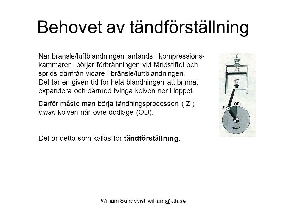 William Sandqvist william@kth.se Behovet av tändförställning När bränsle/luftblandningen antänds i kompressions- kammaren, börjar förbränningen vid tändstiftet och sprids därifrån vidare i bränsle/luftblandningen.