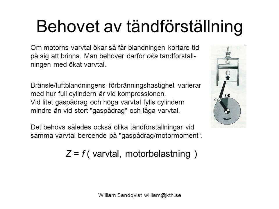 William Sandqvist william@kth.se Behovet av tändförställning Om motorns varvtal ökar så får blandningen kortare tid på sig att brinna.