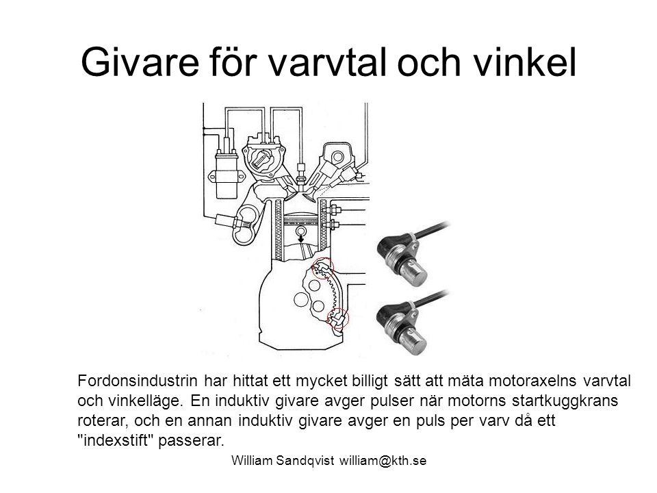 William Sandqvist william@kth.se Givare för varvtal och vinkel Fordonsindustrin har hittat ett mycket billigt sätt att mäta motoraxelns varvtal och vinkelläge.