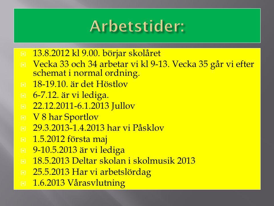  13.8.2012 kl 9.00. börjar skolåret  Vecka 33 och 34 arbetar vi kl 9-13. Vecka 35 går vi efter schemat i normal ordning.  18-19.10. är det Höstlov