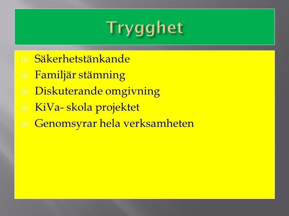  Uppmuntran i användning av språk  Förståelse för svenska språket och den finlandsvenska kulturen  Konsekvent i användningen av språk  Stolthet  Genomsyrar hela verksamheten