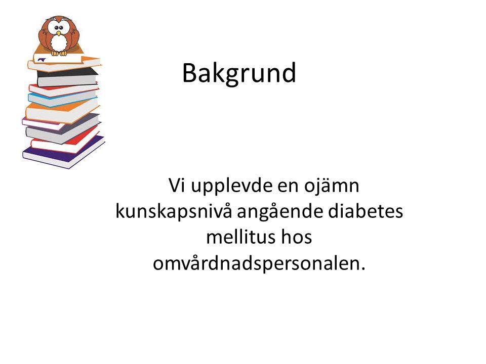 Bakgrund Vi upplevde en ojämn kunskapsnivå angående diabetes mellitus hos omvårdnadspersonalen.
