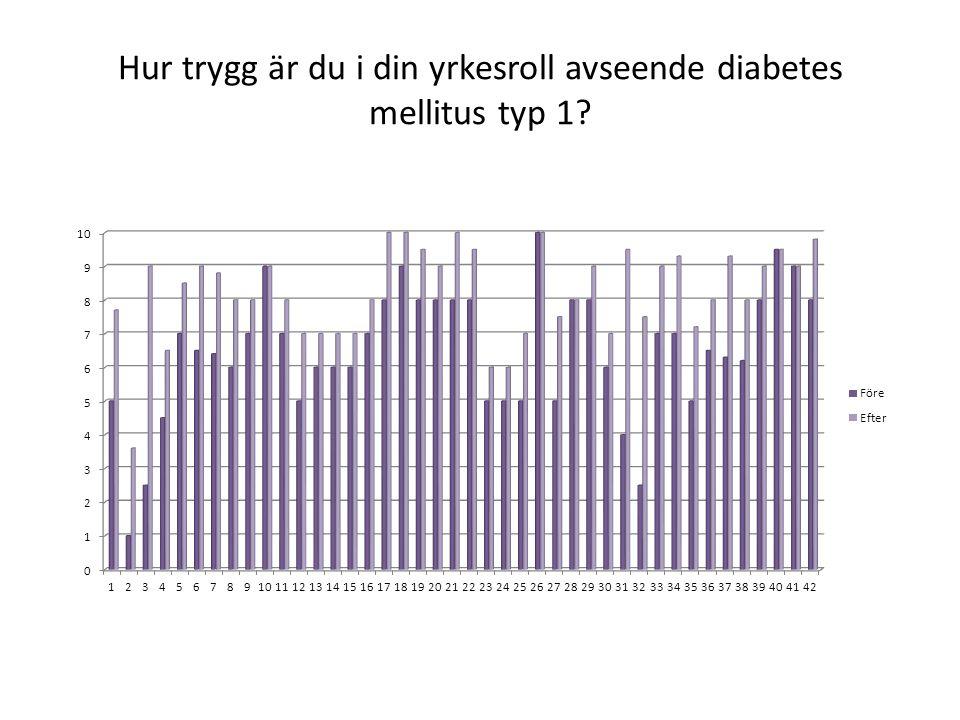 Hur trygg är du i din yrkesroll avseende diabetes mellitus typ 1?