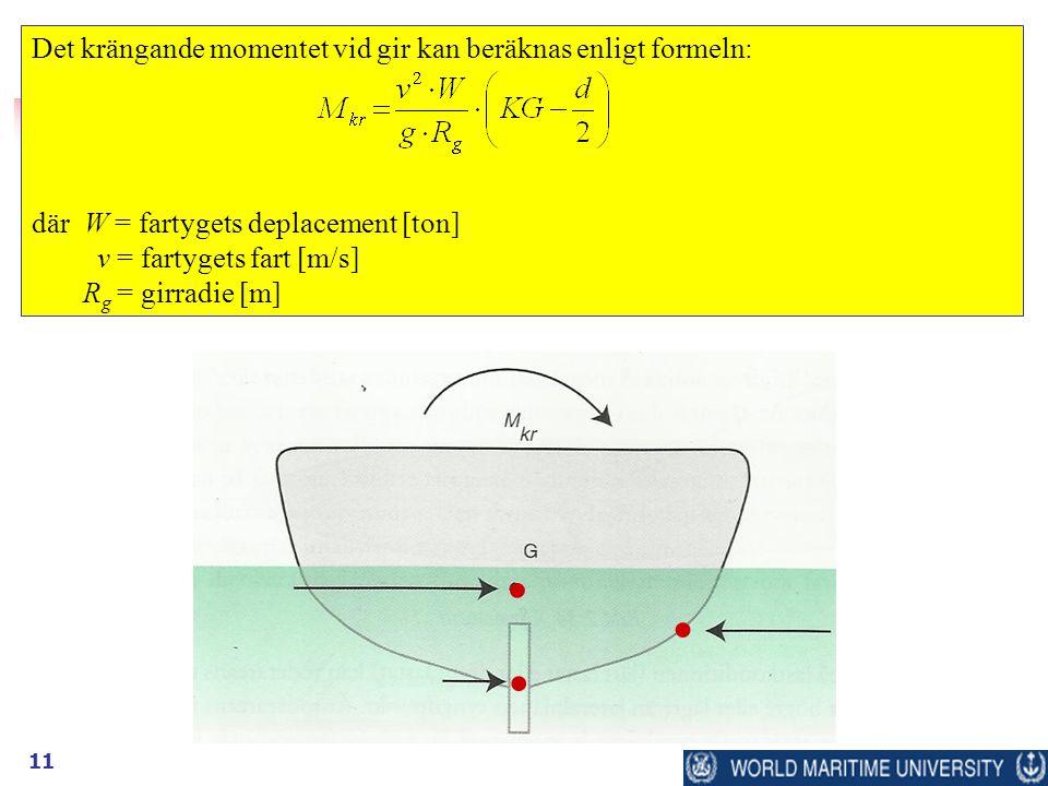 11 Det krängande momentet vid gir kan beräknas enligt formeln: där W = fartygets deplacement [ton] v = fartygets fart [m/s] R g = girradie [m]...
