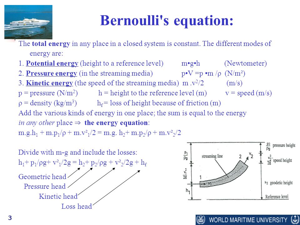 3 Bernoulli s equation: The total energy in any place in a closed system is constant.