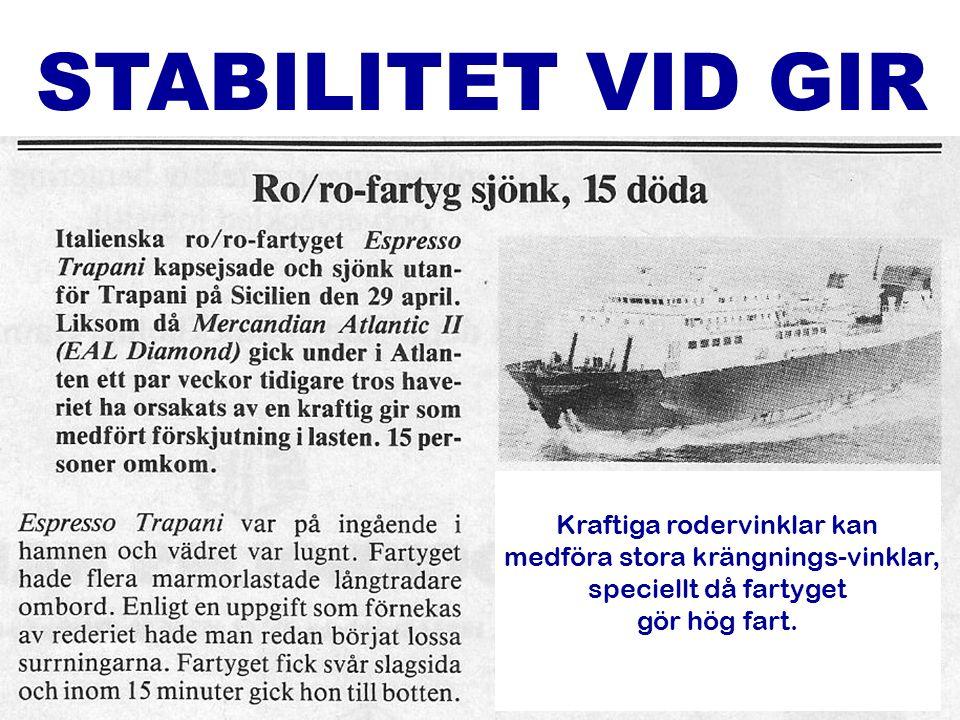7 STABILITET VID GIR Kraftiga rodervinklar kan medföra stora krängnings-vinklar, speciellt då fartyget gör hög fart.