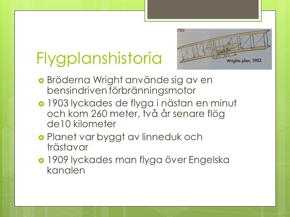 Flygplanshistoria  Bröderna Wright använde sig av en bensindriven förbränningsmotor  1903 lyckades de flyga i nästan en minut och kom 260 meter, två år senare flög de10 kilometer  Planet var byggt av linneduk och trästavar  1909 lyckades man flyga över Engelska kanalen