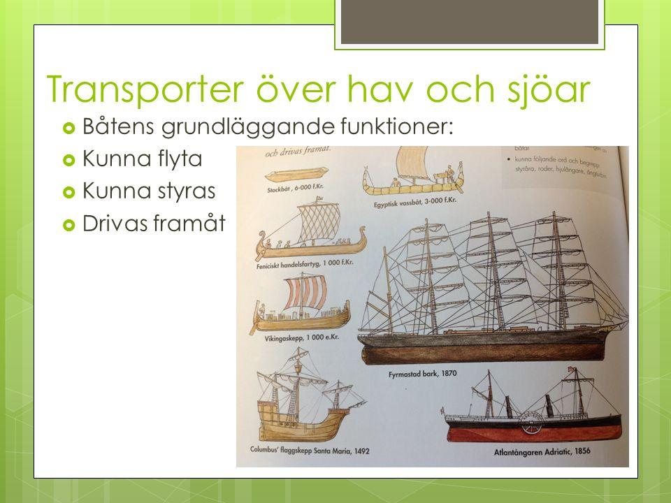 Transporter över hav och sjöar  Båtens grundläggande funktioner:  Kunna flyta  Kunna styras  Drivas framåt