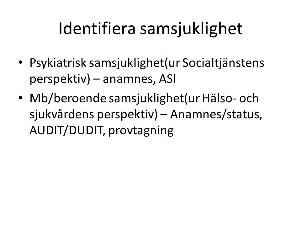 Identifiera samsjuklighet Psykiatrisk samsjuklighet(ur Socialtjänstens perspektiv) – anamnes, ASI Mb/beroende samsjuklighet(ur Hälso- och sjukvårdens