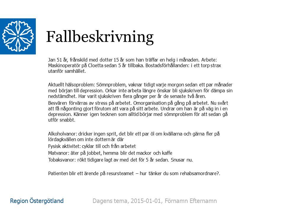Region Östergötland Fallbeskrivning Jan 51 år, frånskild med dotter 15 år som han träffar en helg i månaden. Arbete: Maskinoperatör på Cloetta sedan 5