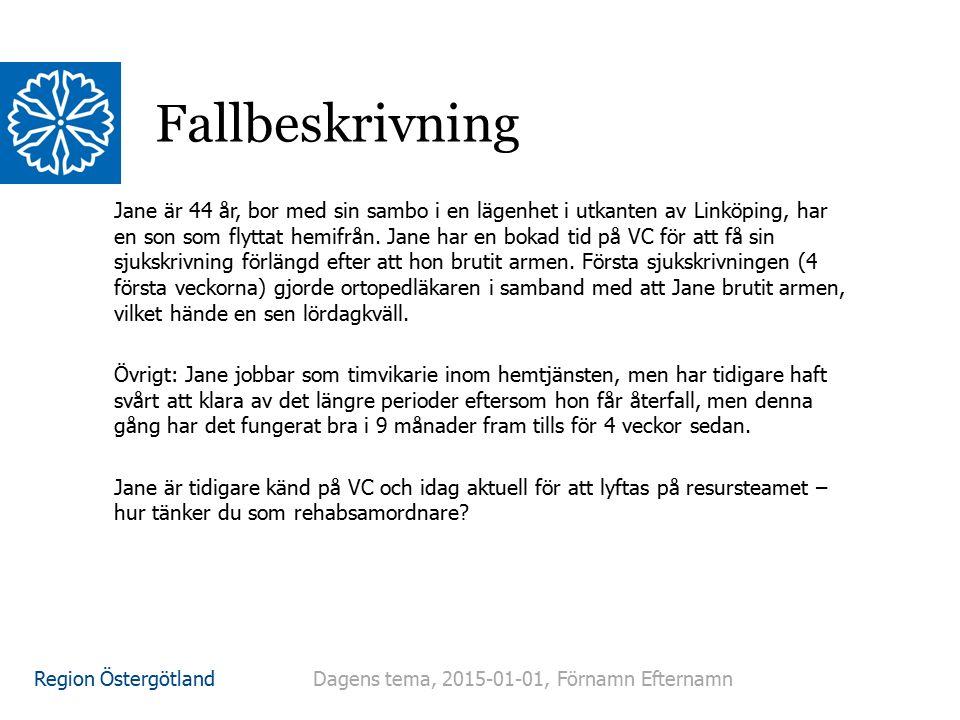 Region Östergötland Fallbeskrivning Jane är 44 år, bor med sin sambo i en lägenhet i utkanten av Linköping, har en son som flyttat hemifrån. Jane har