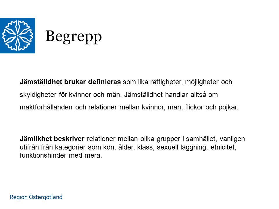 Region Östergötland Begrepp Jämställdhet brukar definieras som lika rättigheter, möjligheter och skyldigheter för kvinnor och män. Jämställdhet handla