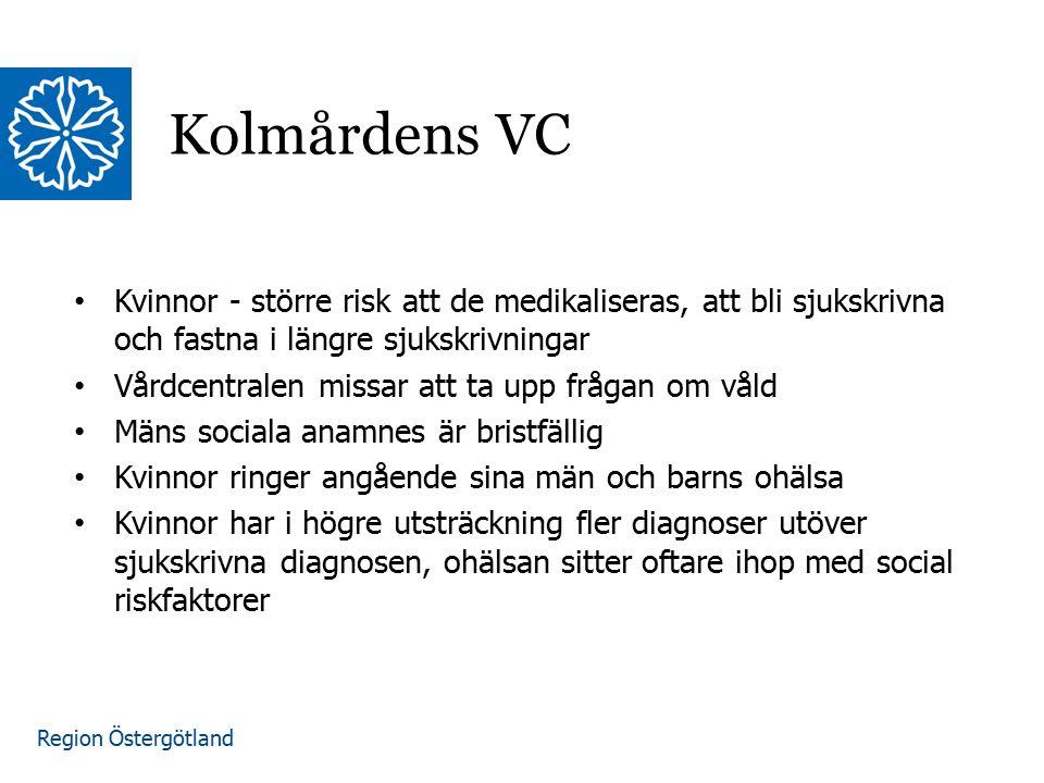 Region Östergötland Kolmårdens VC Kvinnor - större risk att de medikaliseras, att bli sjukskrivna och fastna i längre sjukskrivningar Vårdcentralen mi