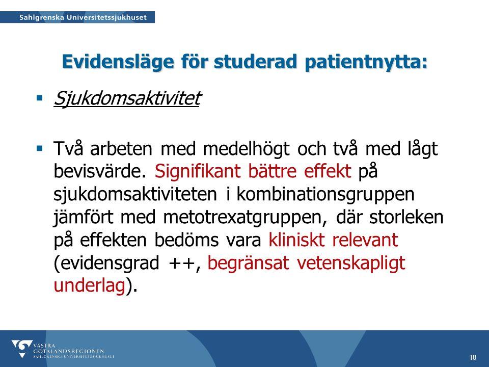 18 Evidensläge för studerad patientnytta:  Sjukdomsaktivitet  Två arbeten med medelhögt och två med lågt bevisvärde.