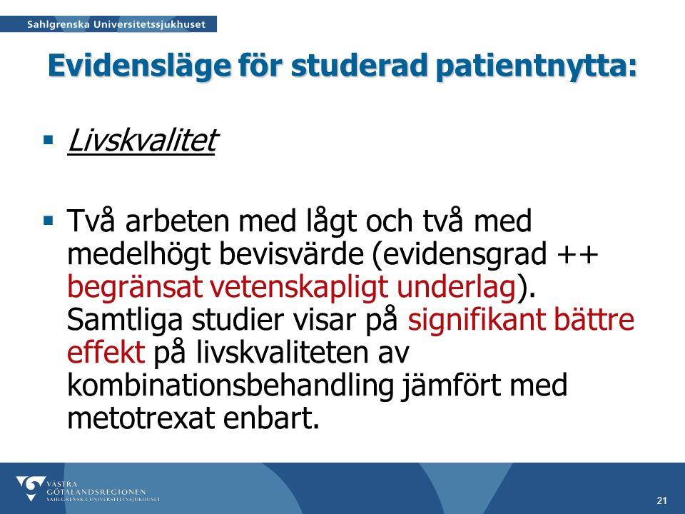 21 Evidensläge för studerad patientnytta:  Livskvalitet  Två arbeten med lågt och två med medelhögt bevisvärde (evidensgrad ++ begränsat vetenskapligt underlag).