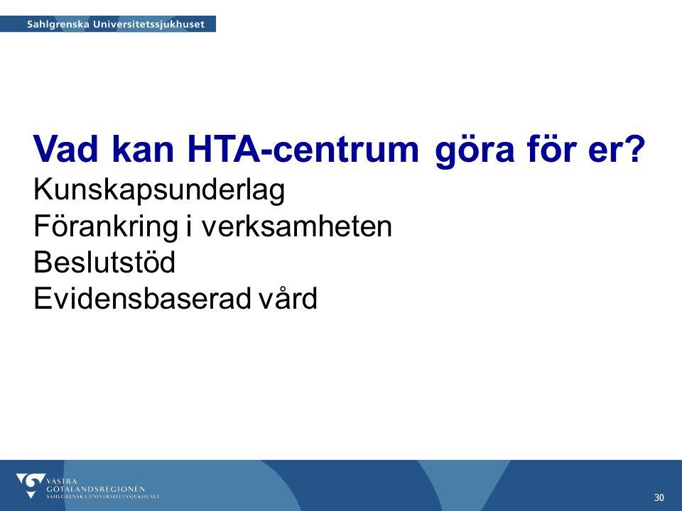 30 Vad kan HTA-centrum göra för er.