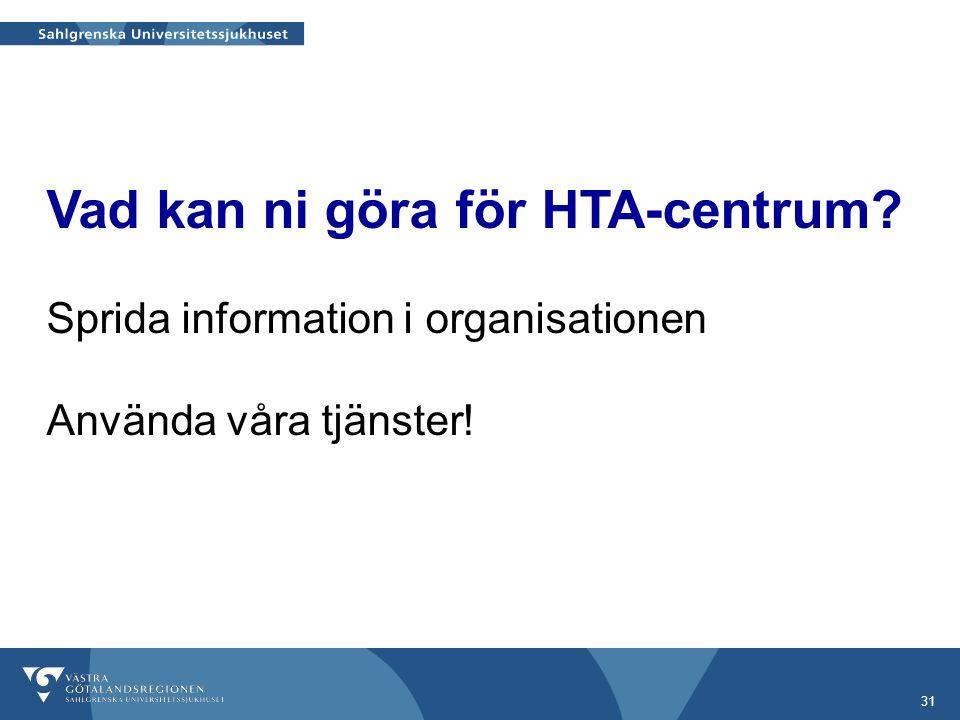 31 Vad kan ni göra för HTA-centrum Sprida information i organisationen Använda våra tjänster!