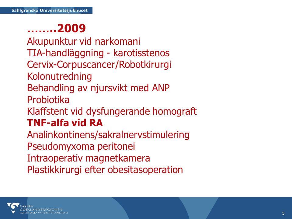5 ……..2009 Akupunktur vid narkomani TIA-handläggning - karotisstenos Cervix-Corpuscancer/Robotkirurgi Kolonutredning Behandling av njursvikt med ANP Probiotika Klaffstent vid dysfungerande homograft TNF-alfa vid RA Analinkontinens/sakralnervstimulering Pseudomyxoma peritonei Intraoperativ magnetkamera Plastikkirurgi efter obesitasoperation