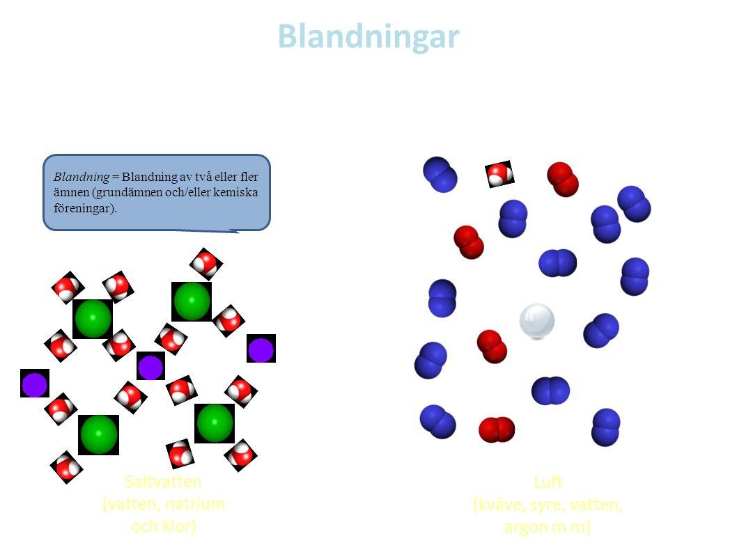 Blandningar Exempel på blandningar Blandning = Blandning av två eller fler ämnen (grundämnen och/eller kemiska föreningar). Saltvatten (vatten, natriu