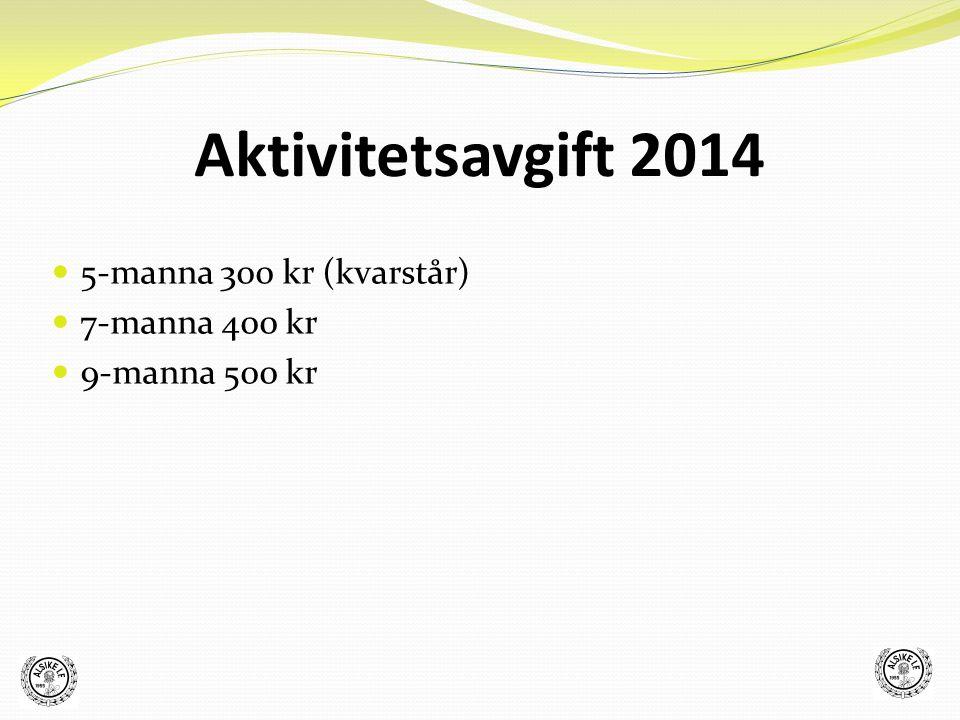 5-manna 300 kr (kvarstår) 7-manna 400 kr 9-manna 500 kr Aktivitetsavgift 2014