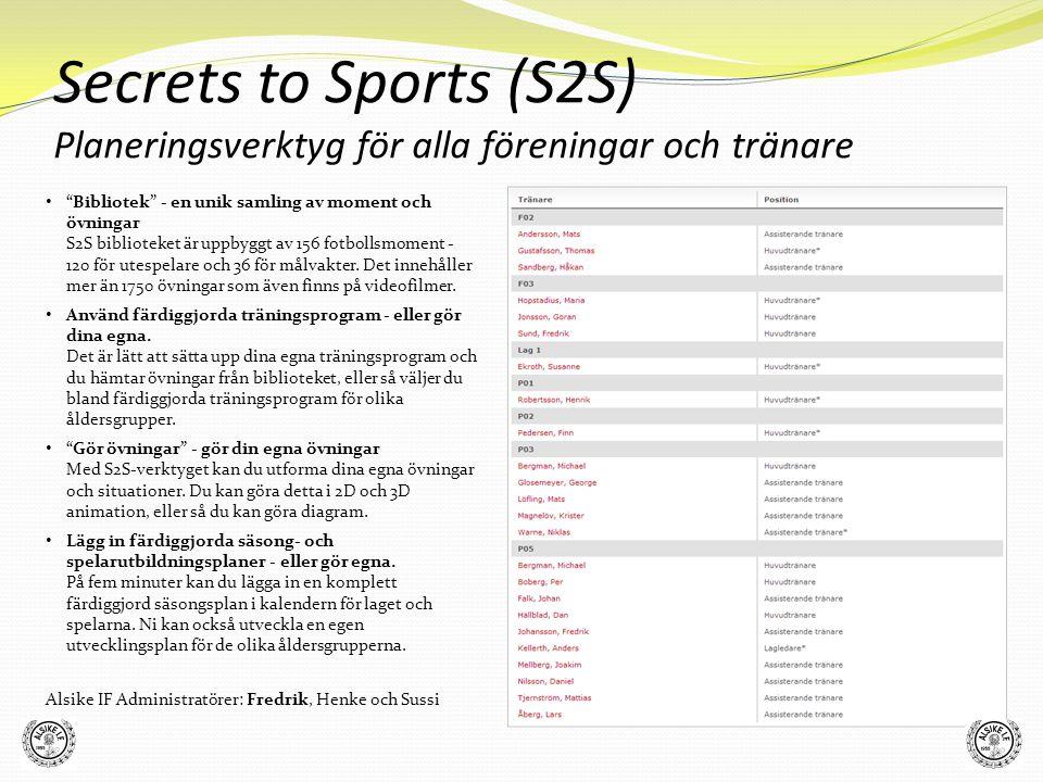 """Secrets to Sports (S2S) Planeringsverktyg för alla föreningar och tränare """"Bibliotek"""" - en unik samling av moment och övningar S2S biblioteket är uppb"""