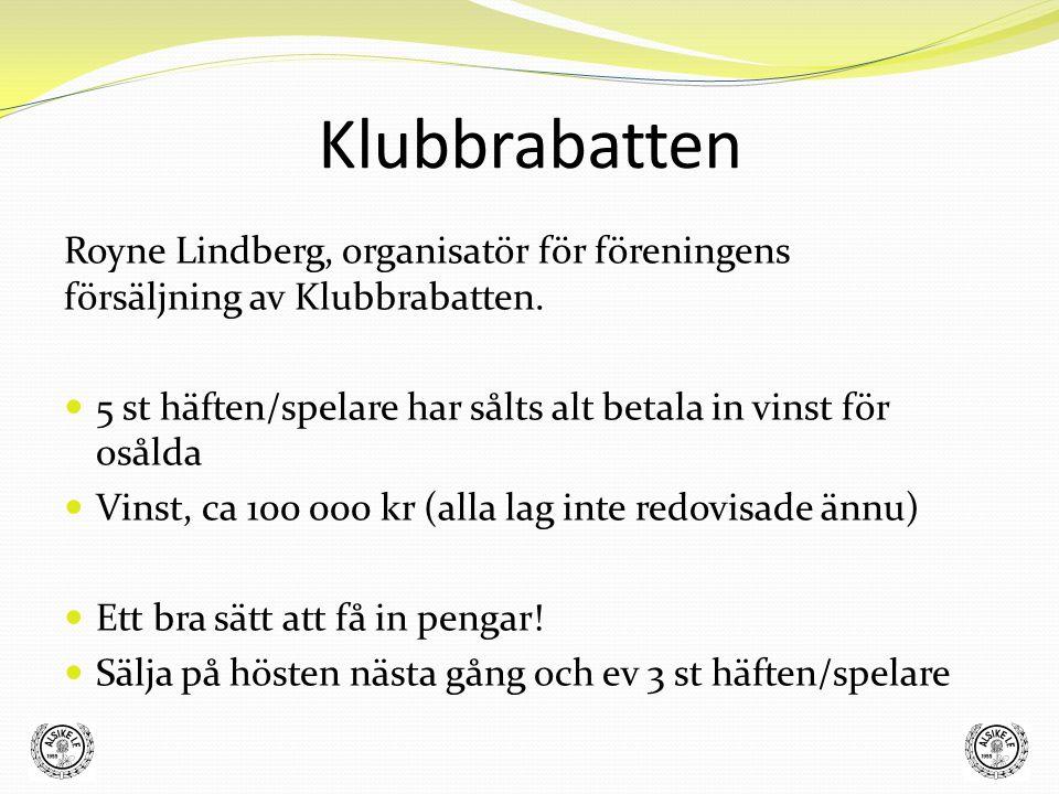 Klubbrabatten Royne Lindberg, organisatör för föreningens försäljning av Klubbrabatten. 5 st häften/spelare har sålts alt betala in vinst för osålda V