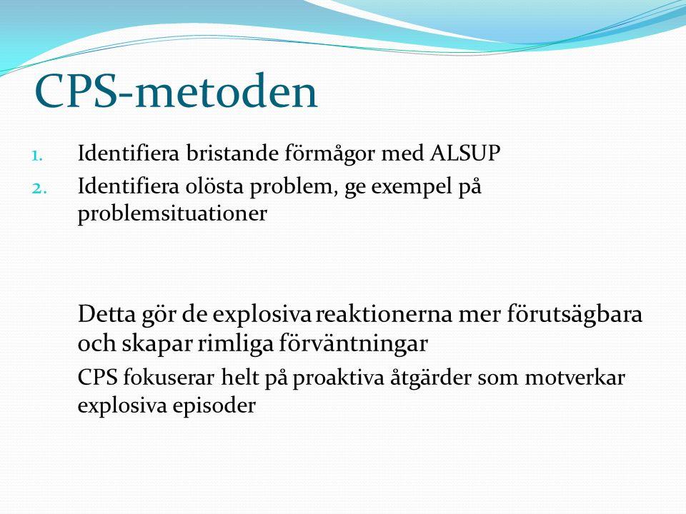CPS-metoden 1. Identifiera bristande förmågor med ALSUP 2. Identifiera olösta problem, ge exempel på problemsituationer Detta gör de explosiva reaktio