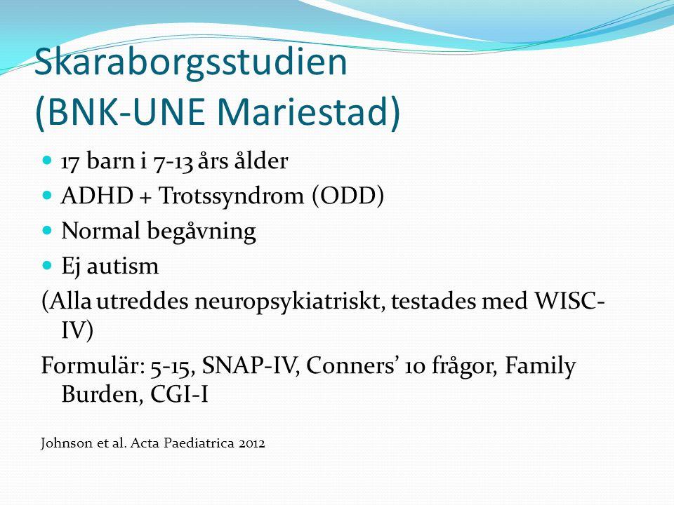 Skaraborgsstudien (BNK-UNE Mariestad) 17 barn i 7-13 års ålder ADHD + Trotssyndrom (ODD) Normal begåvning Ej autism (Alla utreddes neuropsykiatriskt,