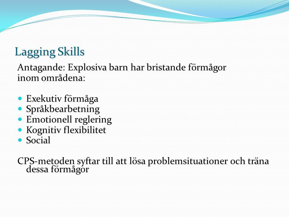 Lagging Skills Antagande: Explosiva barn har bristande förmågor inom områdena: Exekutiv förmåga Språkbearbetning Emotionell reglering Kognitiv flexibi