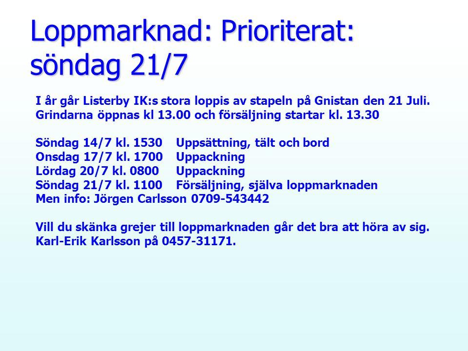 Loppmarknad: Prioriterat: söndag 21/7 I år går Listerby IK:s stora loppis av stapeln på Gnistan den 21 Juli.