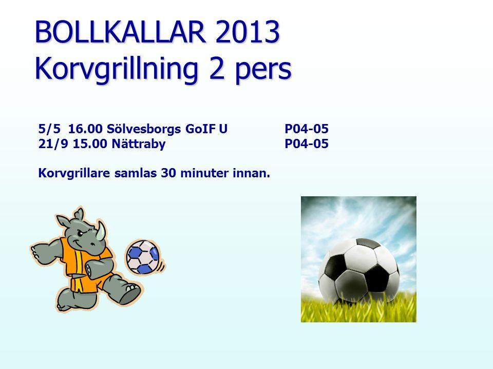 BOLLKALLAR 2013 Korvgrillning 2 pers 5/5 16.00 Sölvesborgs GoIF U P04-05 21/9 15.00 Nättraby P04-05 Korvgrillare samlas 30 minuter innan.