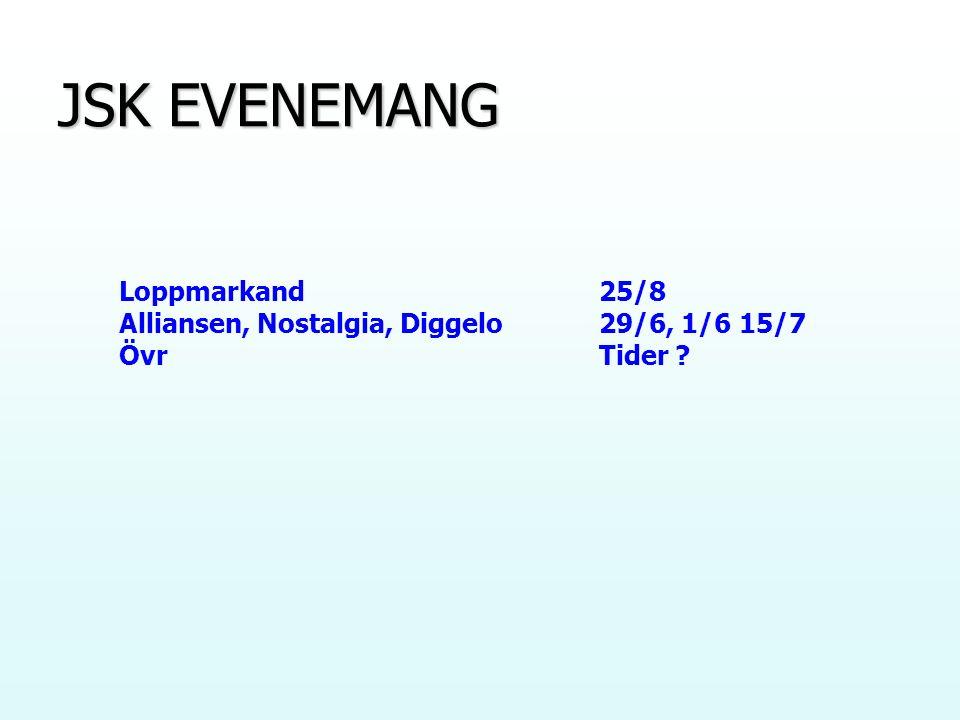 JSK EVENEMANG Loppmarkand25/8 Alliansen, Nostalgia, Diggelo29/6, 1/6 15/7 ÖvrTider