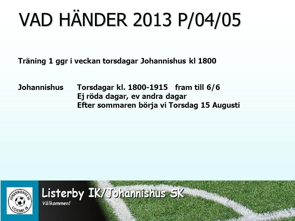 VAD HÄNDER 2013 P/04/05 VAD HÄNDER 2013 P/04/05 Träning 1 ggr i veckan torsdagar Johannishus kl 1800 Johannishus Torsdagar kl.