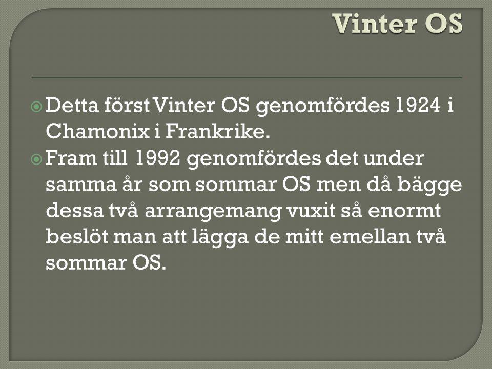  Detta först Vinter OS genomfördes 1924 i Chamonix i Frankrike.