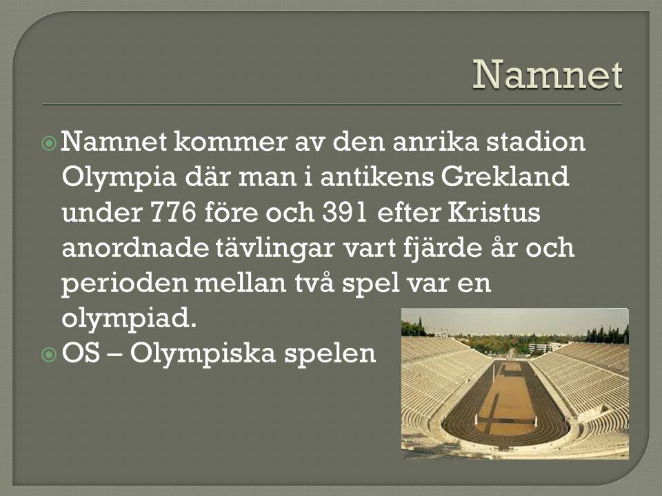  Namnet kommer av den anrika stadion Olympia där man i antikens Grekland under 776 före och 391 efter Kristus anordnade tävlingar vart fjärde år och perioden mellan två spel var en olympiad.