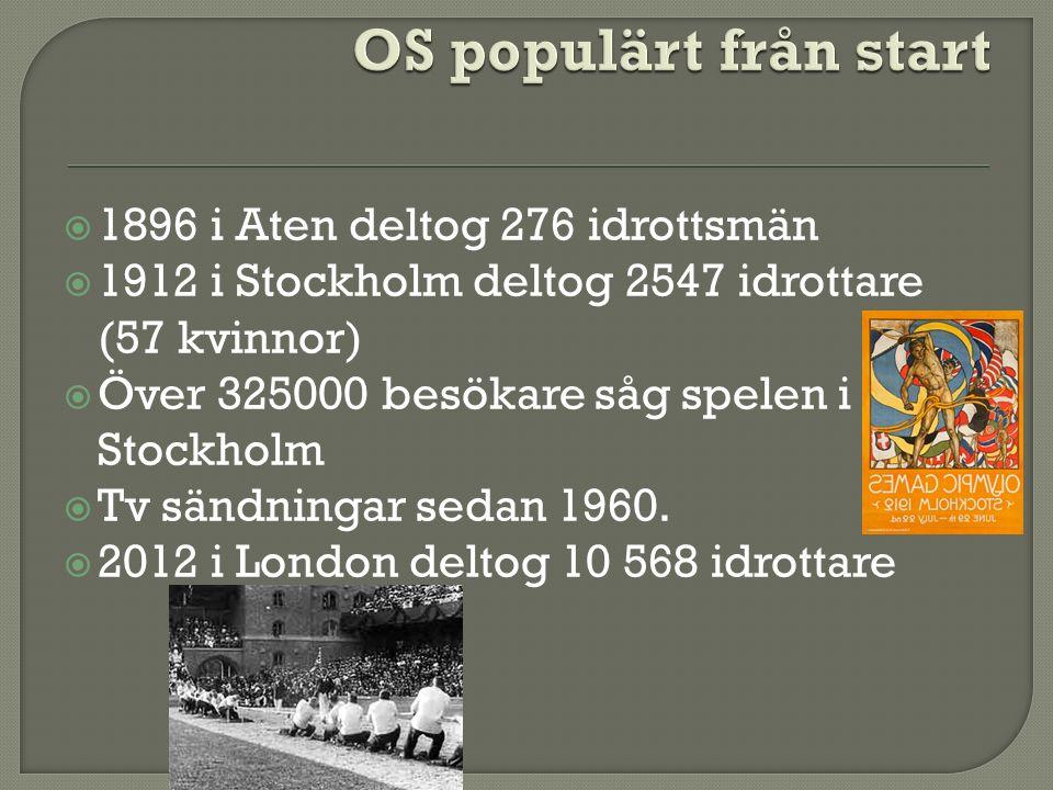  1896 i Aten deltog 276 idrottsmän  1912 i Stockholm deltog 2547 idrottare (57 kvinnor)  Över 325000 besökare såg spelen i Stockholm  Tv sändningar sedan 1960.