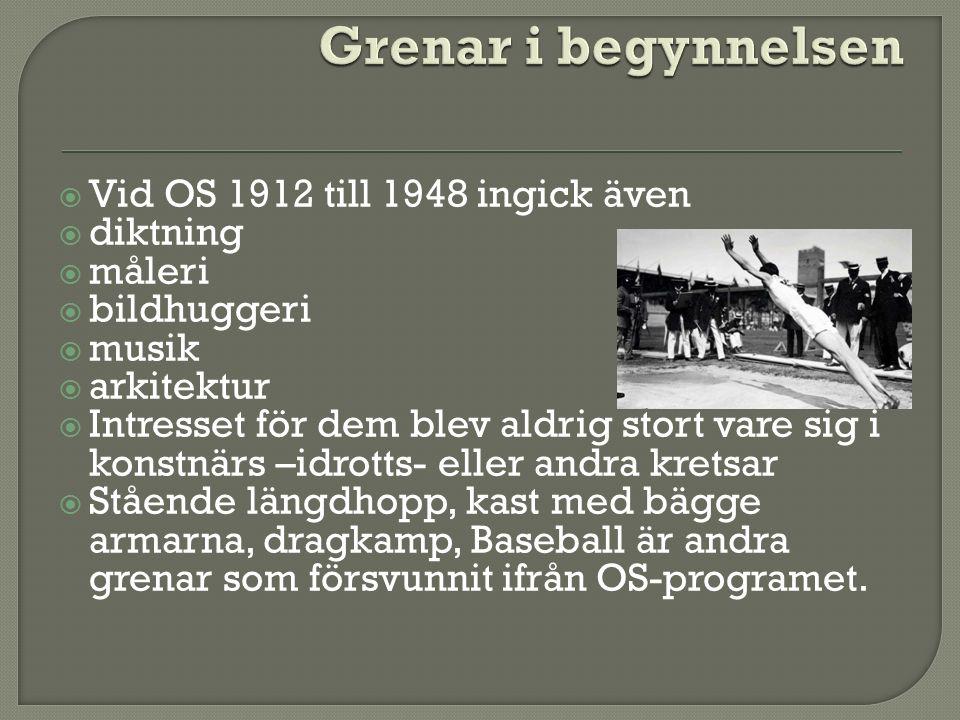  Vid OS 1912 till 1948 ingick även  diktning  måleri  bildhuggeri  musik  arkitektur  Intresset för dem blev aldrig stort vare sig i konstnärs –idrotts- eller andra kretsar  Stående längdhopp, kast med bägge armarna, dragkamp, Baseball är andra grenar som försvunnit ifrån OS-programet.