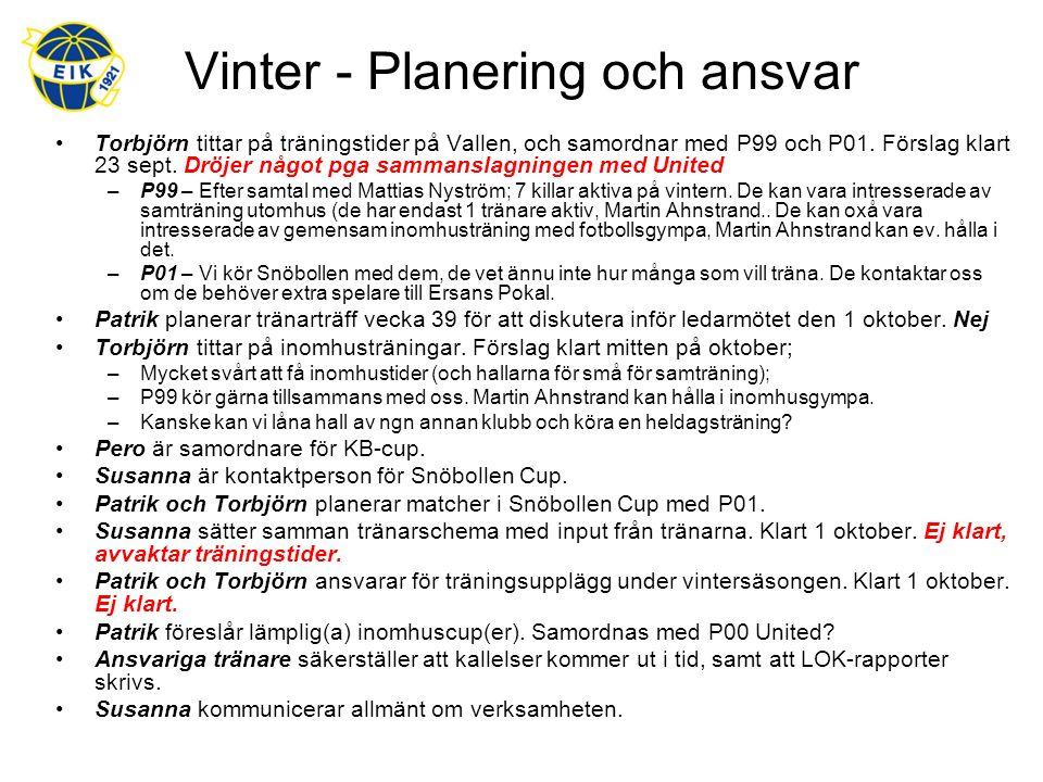 Vinter - Planering och ansvar Torbjörn tittar på träningstider på Vallen, och samordnar med P99 och P01.