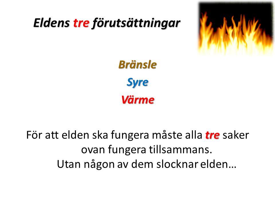 Eldens tre förutsättningar BränsleSyreVärme tre För att elden ska fungera måste alla tre saker ovan fungera tillsammans.