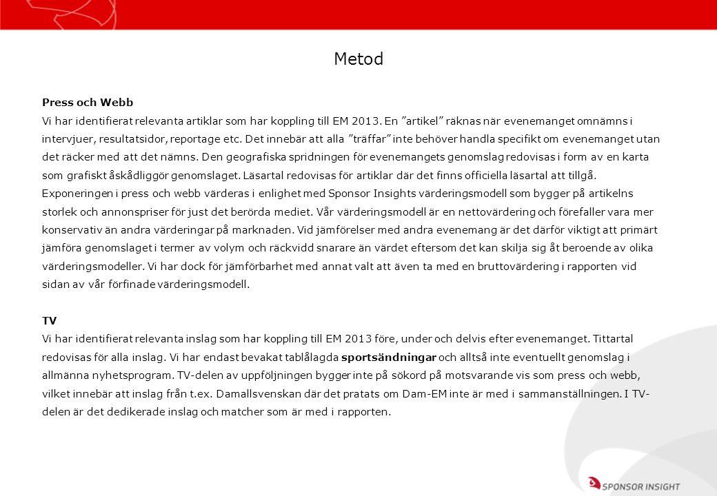 """Press och Webb Vi har identifierat relevanta artiklar som har koppling till EM 2013. En """"artikel"""" räknas när evenemanget omnämns i intervjuer, resulta"""
