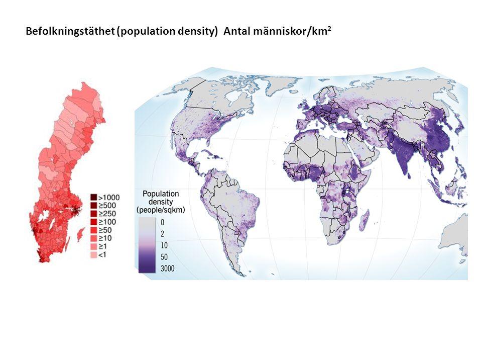 Befolkningstäthet (population density) Antal människor/km 2