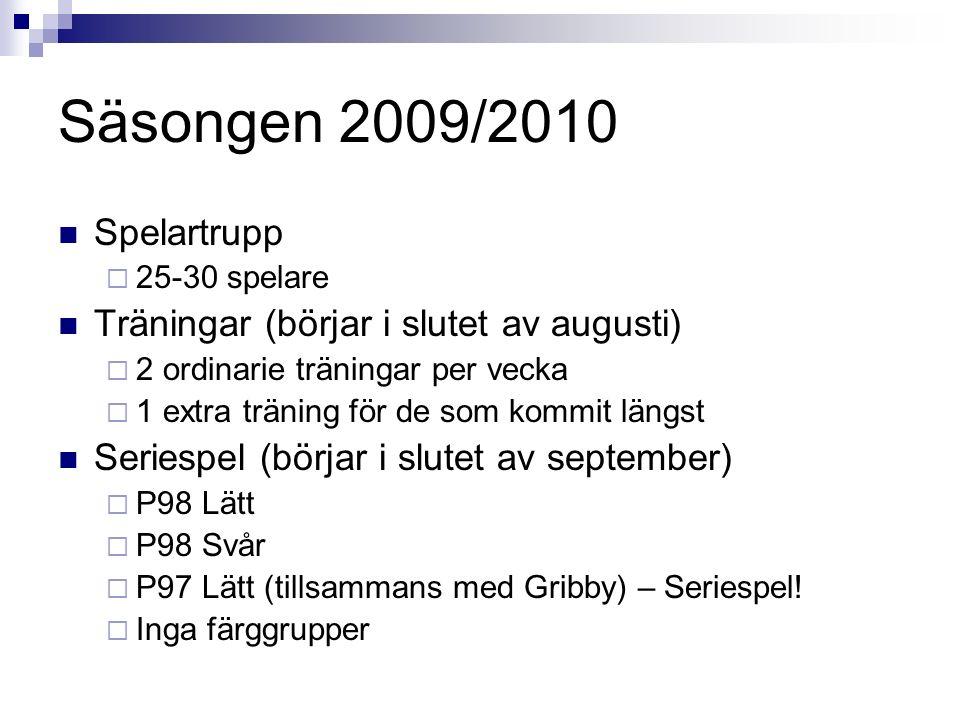 Säsongen 2009/2010 Spelartrupp  25-30 spelare Träningar (börjar i slutet av augusti)  2 ordinarie träningar per vecka  1 extra träning för de som kommit längst Seriespel (börjar i slutet av september)  P98 Lätt  P98 Svår  P97 Lätt (tillsammans med Gribby) – Seriespel.