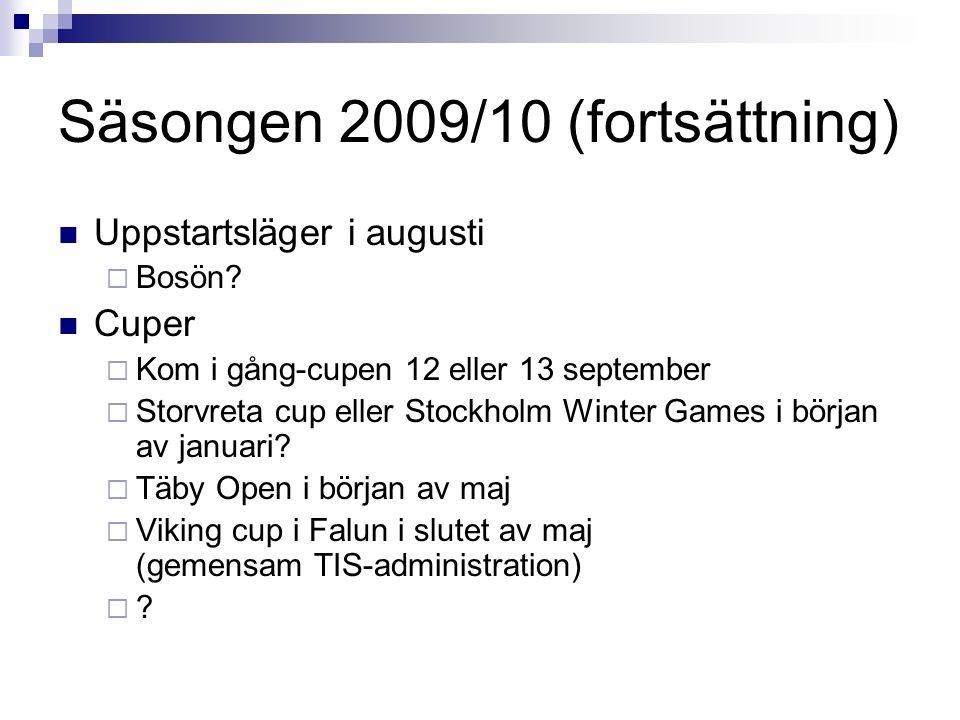 Säsongen 2009/10 (fortsättning) Uppstartsläger i augusti  Bosön? Cuper  Kom i gång-cupen 12 eller 13 september  Storvreta cup eller Stockholm Winte