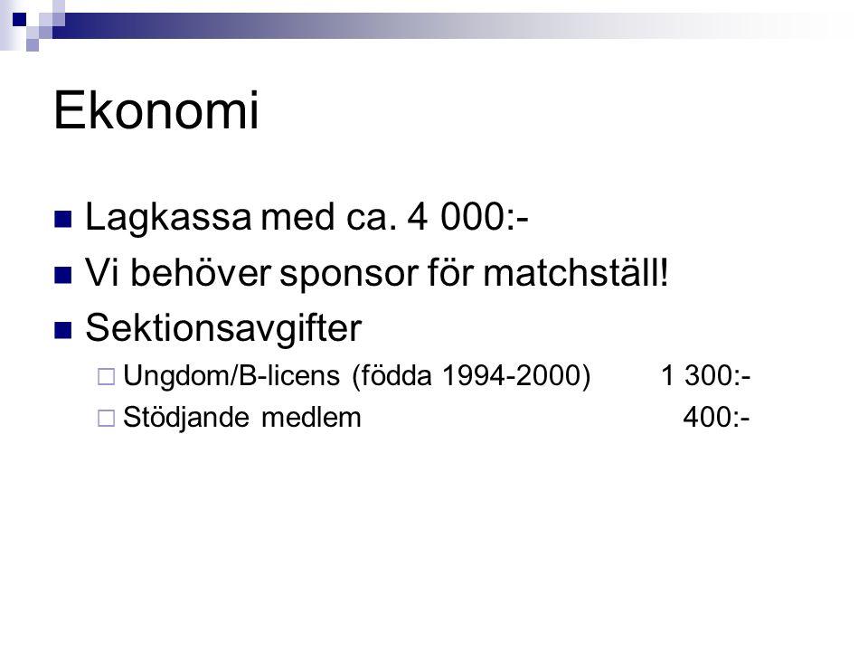 Ekonomi Lagkassa med ca. 4 000:- Vi behöver sponsor för matchställ! Sektionsavgifter  Ungdom/B-licens (födda 1994-2000)1 300:-  Stödjande medlem 400