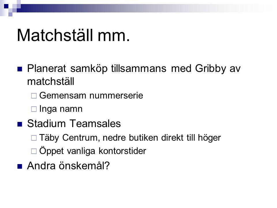Matchställ mm. Planerat samköp tillsammans med Gribby av matchställ  Gemensam nummerserie  Inga namn Stadium Teamsales  Täby Centrum, nedre butiken