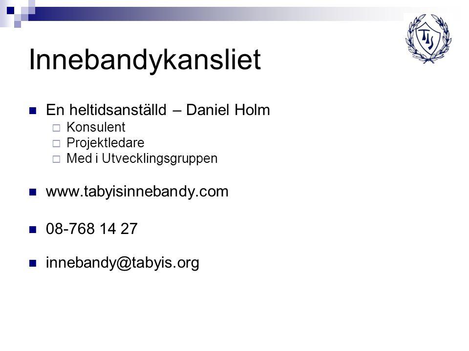 Innebandykansliet En heltidsanställd – Daniel Holm  Konsulent  Projektledare  Med i Utvecklingsgruppen www.tabyisinnebandy.com 08-768 14 27 inneban